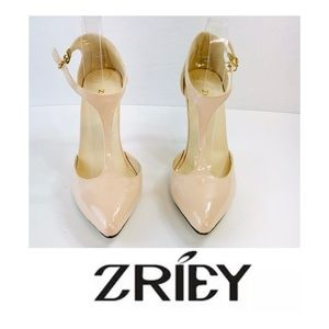 Zriey Mary Janes Patent Leather Stiletto Heels 40